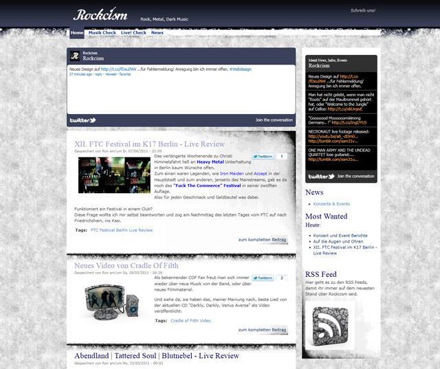 Grunge Webdesign mit Drupal Theme